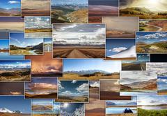 Mountains photo collage travel concept Stock Photos