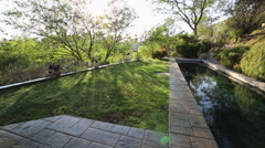WIDE ON LAP POOL AND POP-UP SPRINKLERS WATERING GRASS LAWN Arkistovideo