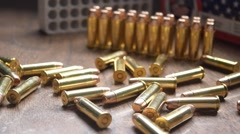 .38 ammunition and ammo box Stock Footage