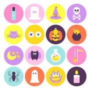 Trendy Halloween Circle Icons Set Stock Illustration