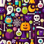 Scary Halloween Seamless Background Stock Illustration