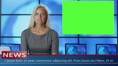 Female News Presenter in Broadcasting Studio With Green Screen Display. Stock Footage