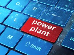 Industry concept: Power Plant on computer keyboard background Stock Illustration