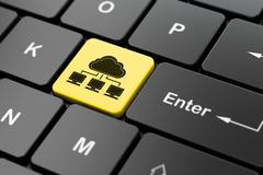 Cloud computing concept: Cloud Network on computer keyboard background Stock Illustration