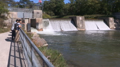 Port Hope fish ladder for salmon run and spawning season activities Stock Footage