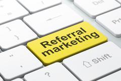 Marketing concept: Referral Marketing on computer keyboard background Stock Illustration