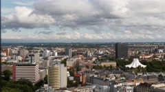 Locked down aerial panoramic shot of mitte, central neighborhood in Berlin. Stock Footage