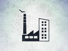 Finance concept: Industry Building on Digital Data Paper background Stock Illustration