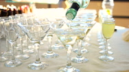 Pouring cocktail into martini glass shooting with high speed camera, phantom Stock Footage