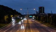 Fast moving traffic Timelapse at dusk. 4K Stock Footage