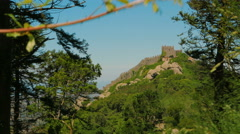 Distant Shot of the Mouros Castle (Castelo dos Mouros) in Sintra, Portugal Stock Footage