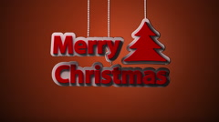 Falling 3d christmas wish writing and tree decoration Stock Footage