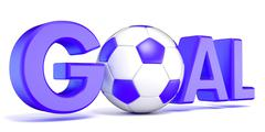 Word GOAL with the football, soccer ball. Blue color. 3D Stock Illustration