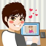 Teenager Chatting Love Stock Illustration