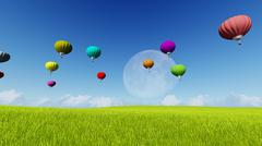 Moon balloons and spring green meadow. Nature composition. 3D rendering. This Stock Illustration