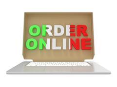 Order online - Italian food. Cardboard box cover on laptop. 3D Stock Illustration