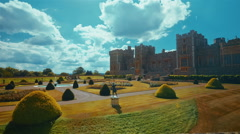 Ultra Wide View of the Medieval Windsor Castle and Gardens in Glorious Sunshine Stock Footage
