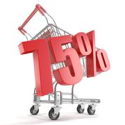 75% - seventy five percent discount in front of shopping cart. Sale concept.  Stock Illustration