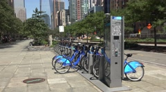 The Citi Bike station close to Battery Park in Manhattan, New York. Stock Footage