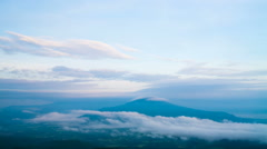Sunshine on the morning mist at Phu Pa Poh,Loei,Thailand Stock Footage