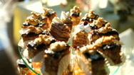 Buffet with sweets on the wedding close up Stock Footage