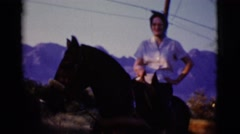 1968: a woman is seen on a horse COTTONWOOD, ARIZONA Stock Footage