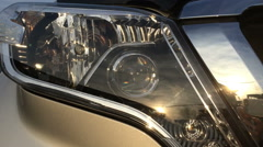Car Headlamp, the lens moves up and down Stock Footage