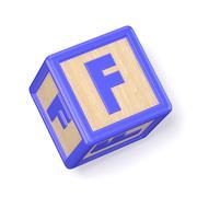Letter F wooden alphabet blocks font rotated. 3D Stock Illustration
