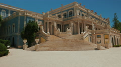 Ultra Wide Angle POV Cinematic Approach to the 18th Century Queluz Palace Stock Footage
