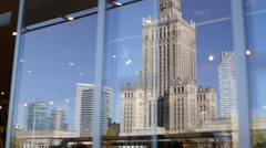 Warsaw panorama reflected on store window Stock Footage