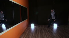 Hip-hop dancing in a Studio in front of a mirror Stock Footage