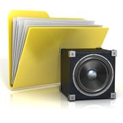 Folder icon with speaker. 3D Stock Illustration