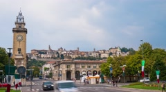 Bergamo Alta seen from the lower city, Timelapse Stock Footage