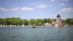Participants and rescue workers at the Ostankino pond during Regatta. Stock Footage