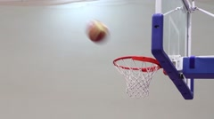 Unsuccessful shot on the basketball ring close up at the indoor playground Stock Footage