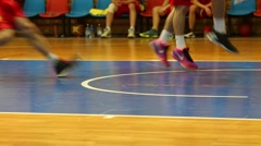 Legs of basketball players during the match. Moscow. Stock Footage