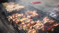 Appetizing fried chicken pieces on the grill during picnic Stock Footage