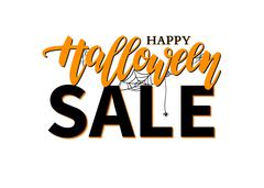 Halloween Sale vector banner with lettering, spider and web. Gre Stock Illustration