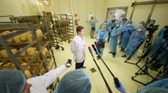 A.Nemeryuk stands in front of reporters at plant Russian fish factory Arkistovideo