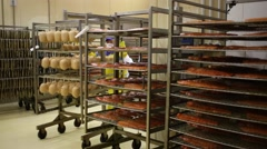 An employee pushes a rack with the product in the shop plant Stock Footage