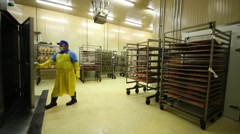 Factory worker in the shop with fish closes the door and leaves Stock Footage