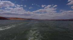 View from Lake Powell Ferry towards bullfrog marina Stock Footage