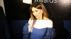 Singer Ani Lorak poses at photo zone during the ceremony of awarding Stock Footage