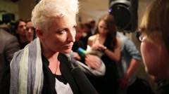 Singer Diana Arbenina gives interview at the ceremony of awarding Stock Footage
