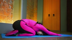Woman in sport suit does exercise on all fours during workout Stock Footage