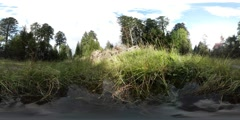 360 VR Relaxing nature clouds time-lapse mountain range Harz with water puddle Stock Footage