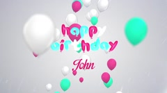 Happy Birthday Wishes with Balloon Stock After Effects