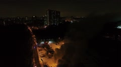 Cityscape with fire brigade work on accident place with lot of smoke Stock Footage