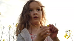 Little girl standing in a field picking flowers Stock Footage