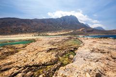 View of the beautiful beach in  Balos Lagoon, Crete Stock Photos